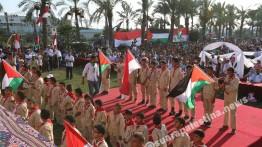 Mimpi Raih Kemerdekaan, Ribuan Rakyat Palestina Hadiri Upacara HUT RI ke-73 di Jalur Gaza