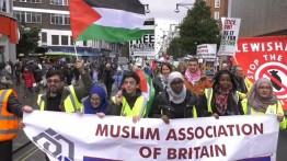 Demonstran pro-Palestina dan pro-Israel berhadapan dalam peringatan Deklarasi Balfour di London