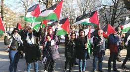 Warga Palestina Polandia gelar aksi unjuk rasa protes Deal of The Century