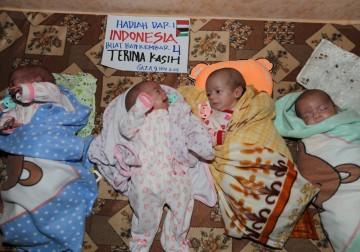Bayi kembar 4 di Gaza Palestina terima bantuan dari muslimin di In