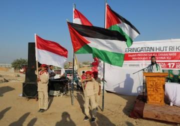 Rakyat Palestina di Jalur Gaza turut serta merayakan HUT RI ke -72